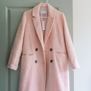 Lulu's Light Pink Double Breasted Wool Coat